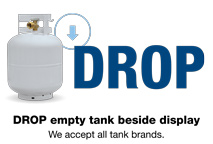 DROP empty tank beside display